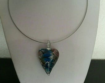 Glass turquoise heart pendant necklace