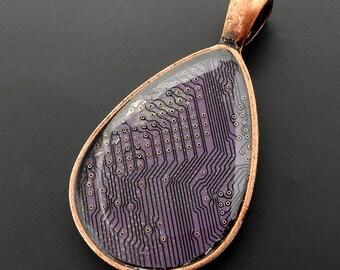 Geeky Lavender Circuit Board Tear Drop Pendant