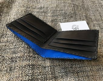 Leather Man Wallet, Bifold Wallet Man, Handmade Mans Wallet, Leather Wallet Inlay  ''Black/ Blue''