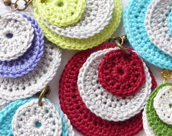 natural cotton crocheted earrings