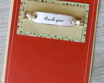 Rustic Thank You Card, Sewn Thank You Card, Handmade Thank You Card, Appreciation, Gratitude, Many Thanks, Blank Thank You Note