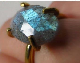 SALE Labradorite Ring - Boho Crystal Ring - Blue Flash Labradorite Jewelry - Gold Tone Brass Ring with Large Faceted Natural Gemstone - Big