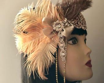 1920s headpiece/Gatsby headpiece/Wedding headpiece/Rhinestone headpiece/Rose Gold headpiece/hair jewelry/hair accessoies/Kiersa