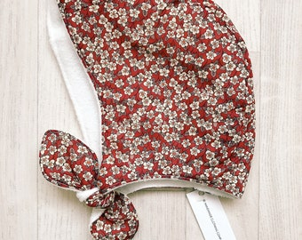 READY to SHIP BELLE Handmade Fleece Lined Winter Baby Bonnet Liberty of London Tana Lawn Winter Hat Ffion