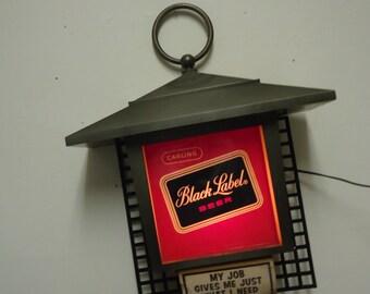 carling black label beer sign plastic,vintage lighted beer sign,bar mancave game room decor.works