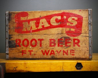 Vintage MAC'S ROOT BEER Wooden Soda Pop Bottle Crate Old Wood Box Ft. Wayne, Indiana Advertising Primitive Rustic Container Storage Red