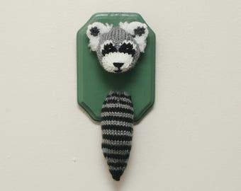 Raccoon Taxidermy - Faux Knit / Crochet Miniature Stuffed Animal