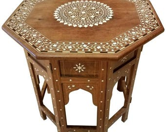 Syrian Style Mother Of Pearl Wooden Side Table