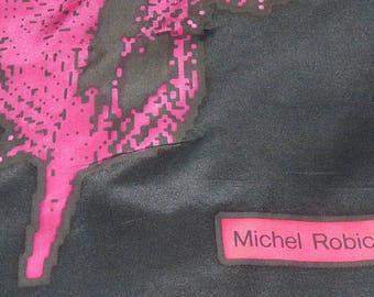 """Superb vintage  designer  Michel Robichaud   silk scarf  56"""" x 11"""" - Ravissant foulard de soie signé Michel Robichaud"""