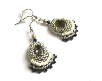 Earrings embroidered black crystal and silver, hooks or clip OPTION