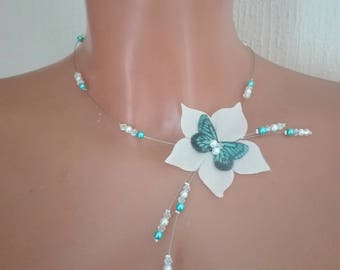 Crystal Butterfly silk flower bridal bridal necklace turquoise blue / white ceremony Christmas