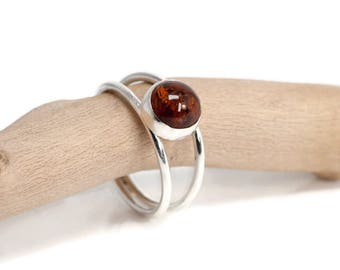 Amber Ring in Sterling Silver   Amber Silver Jewelry   Amber Jewellery   925 Silver Ring