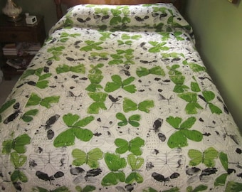 Vintage Vera Neumann Burlington Full Double Queen Bedspread, Green Butterfly Vera Bedspread, Quilted Full Bedspread