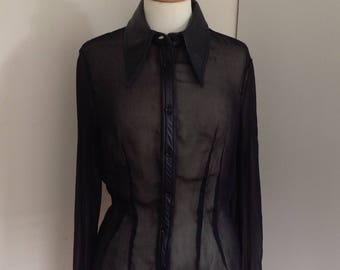 Dolce & Gabbana blouse transparant fabric and real leather size XS
