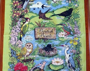 Vintage tea towel British Birds