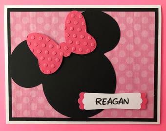"Personalized Handmade ""Minnie Mouse"" Birthday Card, A2, Happy Birthday, Disney"
