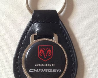 Dodge Charger Keychain Black Leather Key Chain
