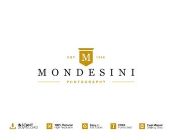 Photography Logo Design Photography. DIY Logo Eps/Psd Template. Premade Logo. INSTANT DOWNLOAD. Custom Logo Design. Shield Logo. Retro Logo.