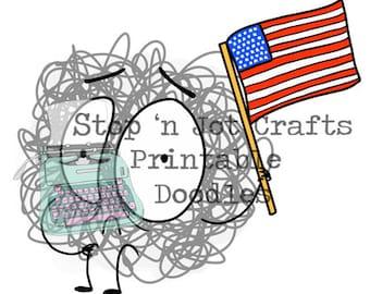 USA Anxiety Buddy Printable Clip Art
