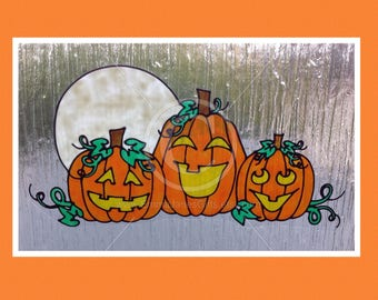 Halloween Pumpkins display window cling for glass & window areas, reusable faux stained glass effect decal, static cling suncatcher decals
