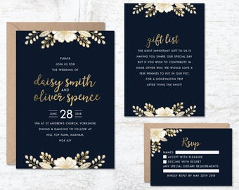 Gold Wedding Invitation Template, Blue Wedding Invitations, Wedding Invitation Printable, Luxury Wedding Invitation, Wedding Invitation Set