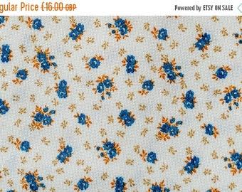 SALE Floral Orange and Blue Retro Fabric