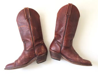 Mens Brown Leather FRYE Cowboy Boots / Size 9.5