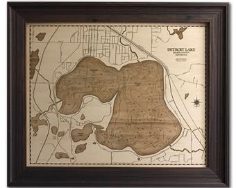 Detroit Lake Dimensional Wood Carved Depth Contour Map - Customize With Your Home Information