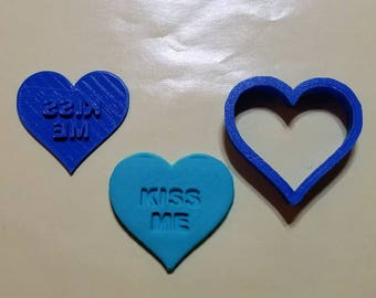 Valentines Day Sweethearts Kiss Me Cookie Cutter with Detail Impression Disc/Fondant/Candy/Soap Cutter