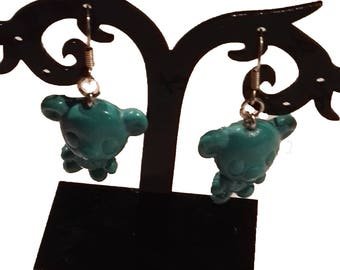 Blue bear earrings