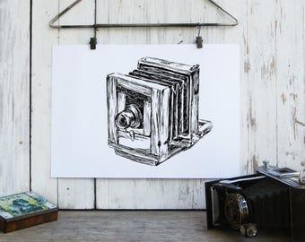 Antique Camera Printable, Rustic Wall Art, Hipster Room Decor, Clip Art, DIY Home Decor, Photographer Gift, Country Home Decor, Original art