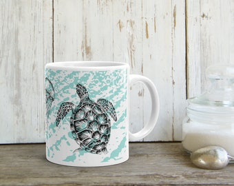 Sea Life Mug, Seahorse Coffee Mug, Tea Cup, Sea Turtle Tea Mug, Drink Gifts, Aqua White Mug, Jelly Fish Print, Drinkware, Printed Mug