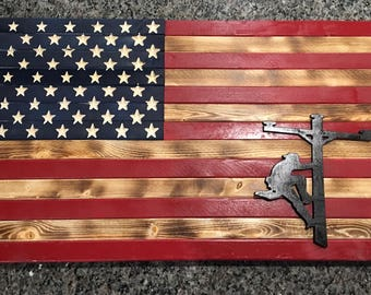 Wooden American Flag With Lineman Logo