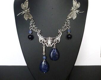 """Necklace style Art Nouveau """"Dragonflies"""" antique silver, natural stones, lapis, dragonfly silver metal, print Art print"""