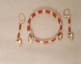 Hearts bracelet and earrings (JS008)