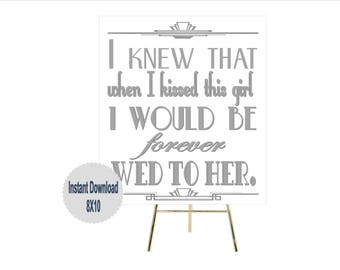 PRINTABLE Gatsby Wedding Sign ,Gatsby party decoration, Roaring 20s Art deco,Wedding Sign, Wedding Decor, Gatsby Quote, Gatsby Collection