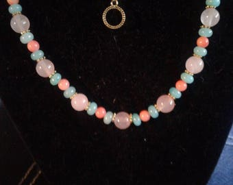 Rose Quartz, Sea Foam Agate and Pink Coral Necklace and Bracelet Set, #562