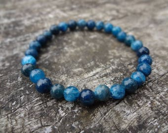 Genuine Apatite Gemstone Bracelet, Aqua Stretch Bracelet for Stacking.