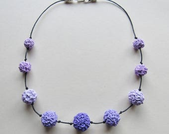 Shades of lilac and purple polymer clay bead necklace (#0114)