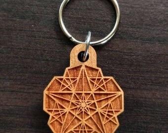 Pentagram Fractal Hardwood Keychain - Precision Laser Cut Sacred Geometry Quality Hand Finished Natural Wood LT30032