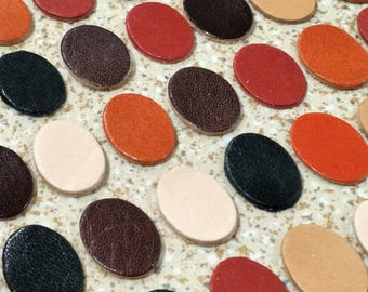 Leather Ovals, 20mm. 30mm. 40mm., 50 pcs., Mixed Colors, Leather Ovals Die Cut, Leather Decoration, Vegetable Tanned Leather, DIY Projects.
