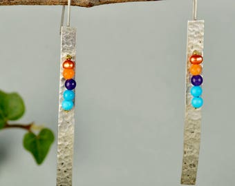 Multicolor silver earrings, long hammered earrings, sleek bar earrings, geometric jewelry, rectangular earring, gift for mom, modern drops.