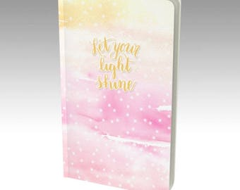 Dot Grid Notebook - Sketchbook, 2018 Bullet Journal, Blank Journal, 2018 Planner, dotted grid notebook, Let Your Light Shine blank notebook