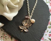 Rose Necklace, Beauty and the Beast jewellery, Fairytale jewellery, Freshwater Pearls
