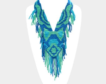 Beaded Fringe Necklace in Blue/Mint