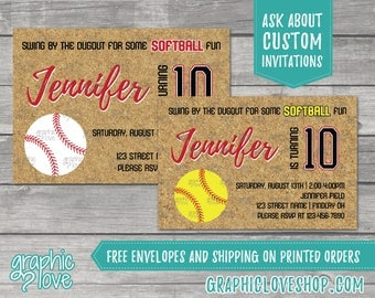 Fastpitch Softball Birthday Invitations | Yellow or White ball, Any Age, 4x6 or 5x7, Digital File or Printed