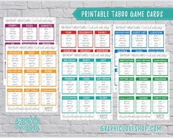 Printable Birthday Party Theme Taboo Game 54 Cards | PDF File, Instant Download, DIY, Print at Home or Printer, NOT Editable