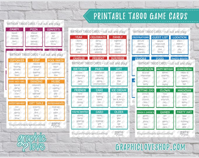 Featured listing image: Printable Birthday Party Theme Taboo Game 54 Cards | PDF File, Instant Download, DIY, Print at Home or Printer, NOT Editable