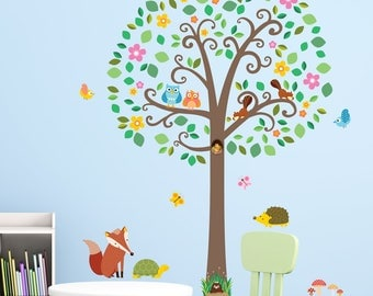 Decowall, DML-1502,Large Scroll Tree and Animals Wall Stickers