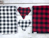 Black and White or Red and Black Buffalo Plaid Flannel Baby Blankets and Matching Drool Bibdanas